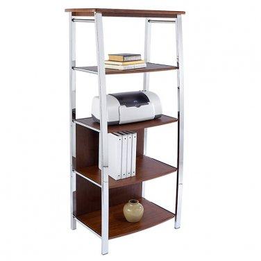 """Realspace 4-Shelf Mezza Bookcase, 60""""H x 26 1/2""""W x 17 1/2""""D, Cherry/Chrome"""