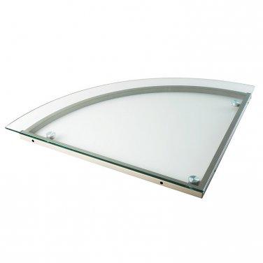 """Realspace Merido Glass Corner Desk Connector, 1 1/5""""H x 27 1/2""""W x 27 1/2""""D, Silver"""