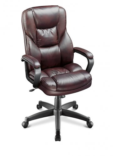 """Realspace Fosner High-Back Bonded Leather Chair, 48""""H x 28 3/8""""W x 30 7/10""""D, Cabernet"""