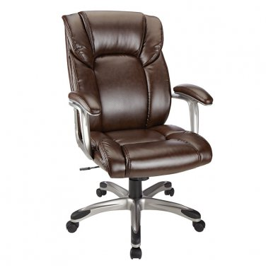Realspace Salsbury High-Back Chair, Dark Brown/Black