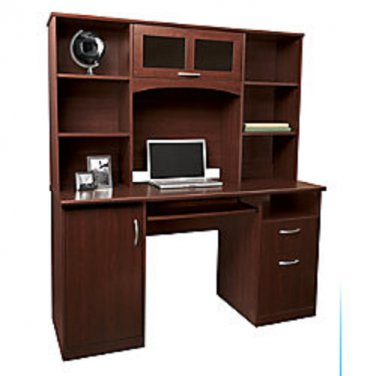 Realspace Landon Desk With Hutch, Cherry