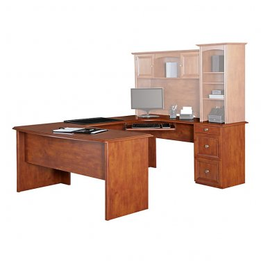 """Realspace Broadstreet Contoured U-Shaped Desk With 92""""L Connecting Bridge/Shell, Maple"""