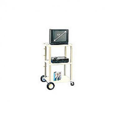 """H. Wilson 42"""" UL-Rated (13"""" TV) Plastic Utility Cart With Big Wheel Kit, Putty"""