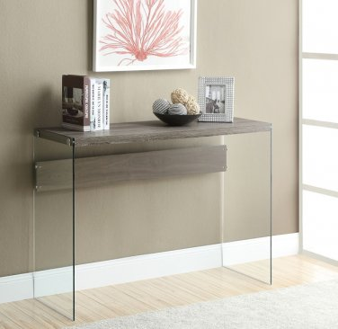 Monarch Specialties Tempered-Glass Console Table, Rectangular, Dark Taupe