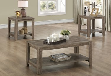 Monarch Specialties 3-Piece Table Set With Shelves, Dark Taupe