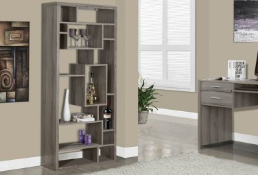 Monarch Specialties 14-Shelf Bookcase, Dark Taupe