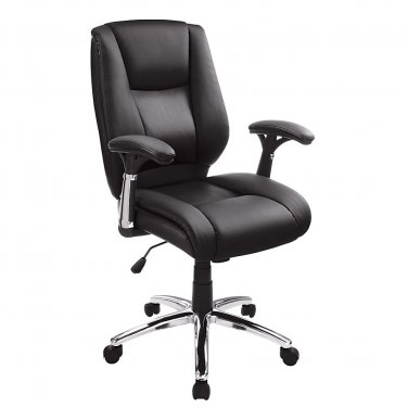 Realspace Eaton Mid-Back Bonded Leather Chair, Black