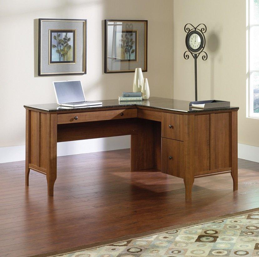 Sauder Appleton Collection Faux Marble Top L Desk Sand Pear