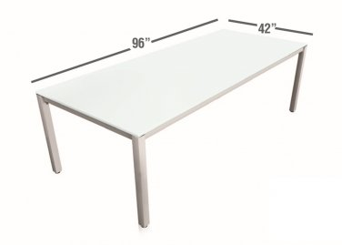 Chiarezza 8u0027 Sling Conference Table, White Frost Glass Top U0026 Aluminum Frame