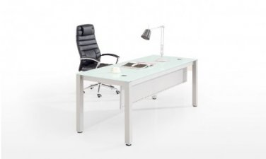 "Chiarezza 72"" Rectangular Desk, White Glass Top, White Frame/Modesty Steel Panel"