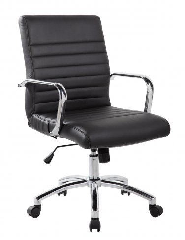 Realbiz Mid Back Ribbed Faux Leather Office Chair Jet Black