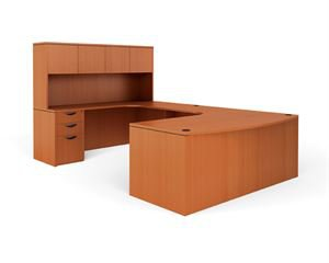 Bow Front U-Shaped Desk with Hutch and Pedestal (Commercial Grade)
