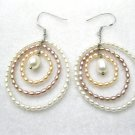 rice freshwater pearl dangle  earring in three circle design,fish hook back,00109EM