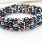 multicolor pearl stretch bracelet with silver tone bead,00122SC