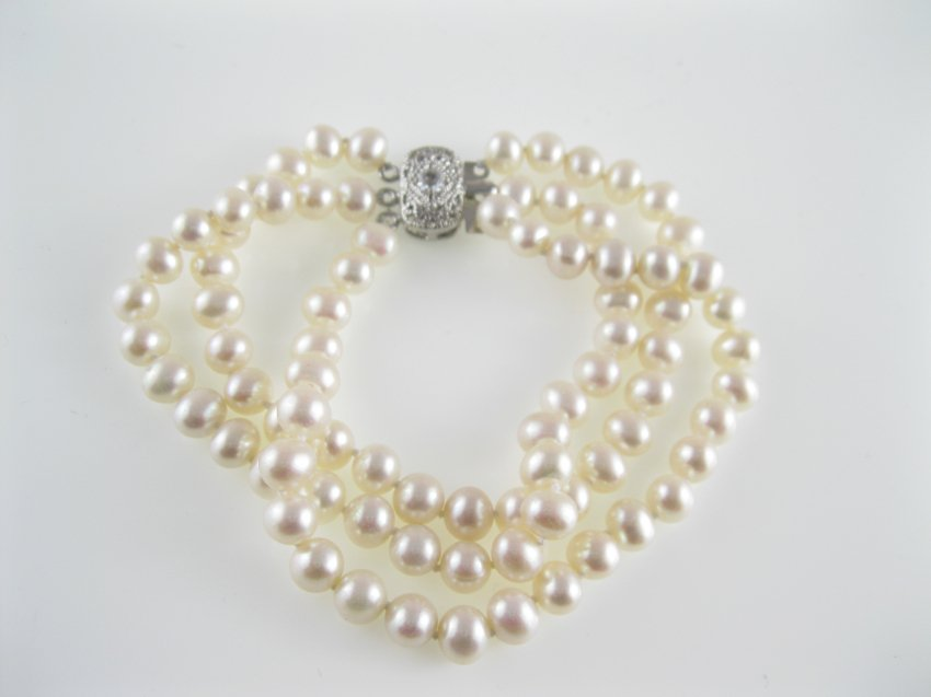3 row freshwater  potato pearl bracelet with filigree clasp,00538SC