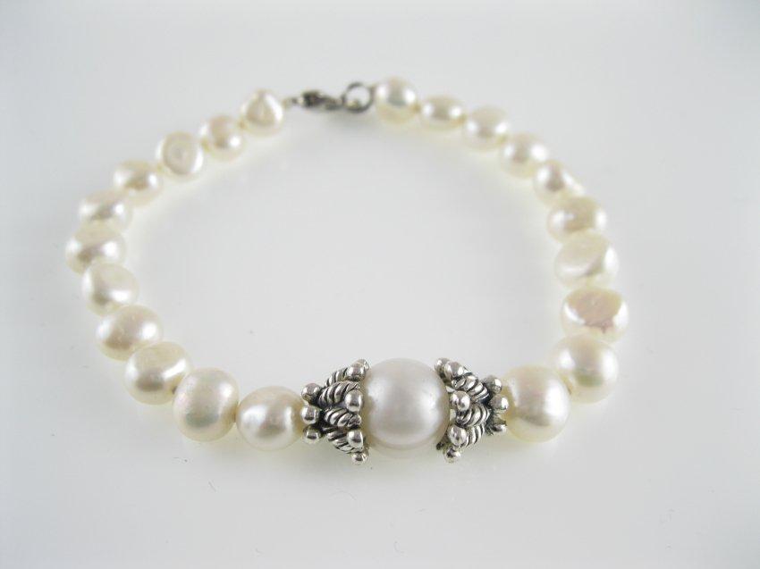 freshwater  irregular pearl  bracelet with antiqued bead cap,00523SL