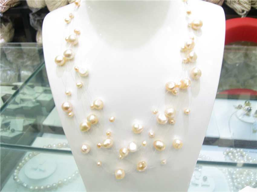 multiRows Pearls Like Stars Sparkling in 925 Silver Illusion Necklace�00481XC