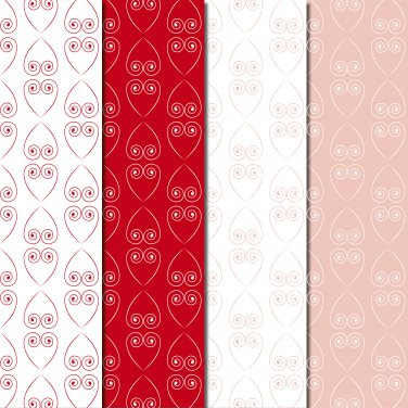 10 Digital Scrapbook Paper Heart Pattern