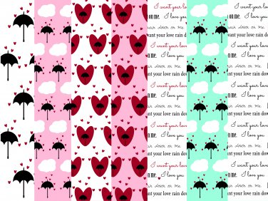 14 Digital Scrapbook Paper Heart Umbrella Rain Love Pattern