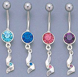 Sliver Jeweled Belly Ring