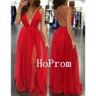 Red Prom Dress, Long Prom Dresses, Chiffon Evening Dress