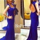 Blue Prom Dress, Long Prom Dresses,Mermaid Evening Dress