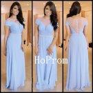 Short Sleeve Prom Dress, Long Prom Dresses,Blue Evening Dress