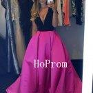 Long Prom Dress,V-Neck Prom Dresses,Satin Evening Dress