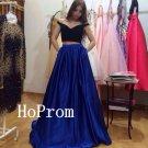 Long Prom Dress,Two Piece Prom Dresses,Satin Evening Dress