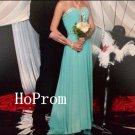 Long Blue Prom Dress,Sweetheart Prom Dresses,Chiffon Evening Dress