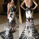 High Low Prom Dress,Black Applique Prom Dresses,Sweetheart Evening Dress
