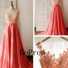 Long Prom Dress,A--Line Prom Dresses,Backless Applique Evening Dress