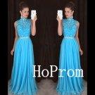 Long Prom Dress,High Neck Prom Dresses,Sleeveless Blue Evening Dress