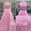 Long Pink Prom Dress,Caop Sleeve Prom Dresses,Applique Evening Dress