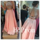 Long Beading Prom Dress,Two Piece Prom Dresses,Pink Evening Dress