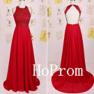 Long Red Prom Dress,A-Line Prom Dresses,Backless Evening Dress