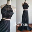 Black A-Line Prom Dress,Two Piece Prom Dresses,Evening Dress