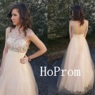 Long Prom Dress,Backless Prom Dresses,Light Champagne Evening Dress