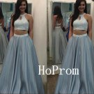 High Neck Prom Dress,Two Piece Prom Dresses,Beaded Evening Dress
