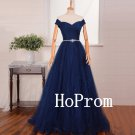 Off Shoulder Prom Dress,Blue Prom Dresses,A-Line Evening Dress