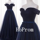 Navy Blue Prom Dress,Off Shoulder Prom Dresses,A-Line Evening Dress