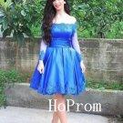 BlueProm Dress,Long Sleeve Prom Dresses,Short Evening Dress