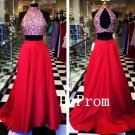 Long Beading Prom Dress,Two Piece Prom Dresses,Red Evening Dress