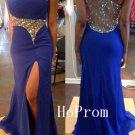 One Shoulder Prom Dress,Blue Prom Dresses,Slit Evening Dress