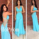 Beaded Blue Prom Dress,Backless Prom Dresses,Long Evening Dress