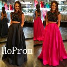 Two Piece Prom Dress,Cap Sleeve Prom Dresses,Long Evening Dress