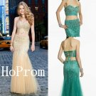 Two Piece Prom Dress,Strapless Prom Dresses,Sheath Evening Dress