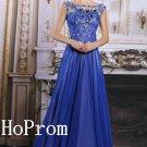 A-Line Prom Dress,Beaded Prom Dresses,Blue Evening Dress