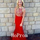 Red Tulle Prom Dress,Beading Prom Dresses,Long Evening Dress