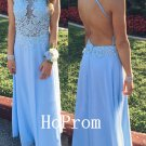 Halter Backless Prom Dress,Blue Prom Dresses,Long Evening Dress